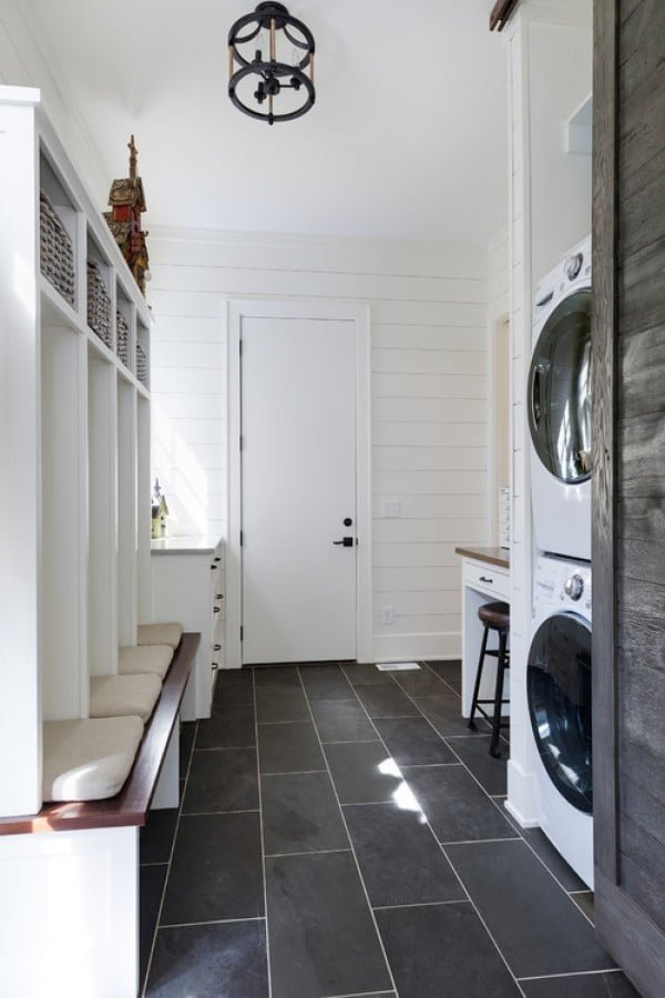 100 Fabulous Laundry Room Decor Ideas You Can Copy - You have to see this laundry room decor idea with shiplap and floor tiling. Love it! #HomeDecorIdeas #LaundryRoomDesign