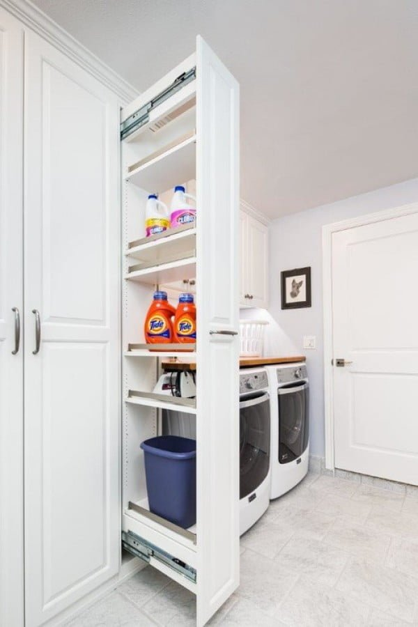 100 Fabulous Laundry Room Decor Ideas You Can Copy - You have to see this laundry room decor idea with workbench and storage. Love it!