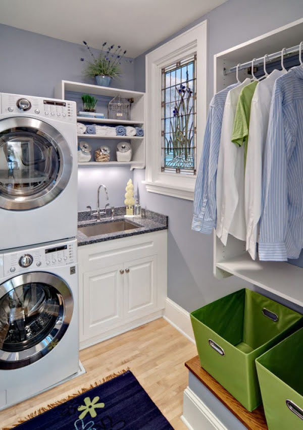 100 Fabulous Laundry Room Decor Ideas You Can Copy - You have to see this laundry room decor idea with open shelving. Love it! #HomeDecorIdeas #LaundryRoomDesign