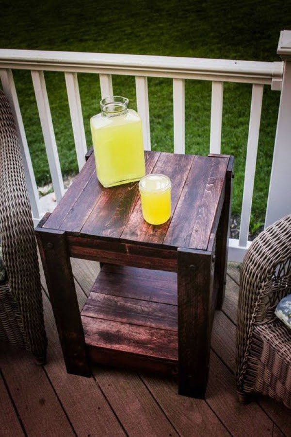 Great idea! Check out the tutorial on how to make a #DIY outdoor pallet end table. #HomeDecorIdeas