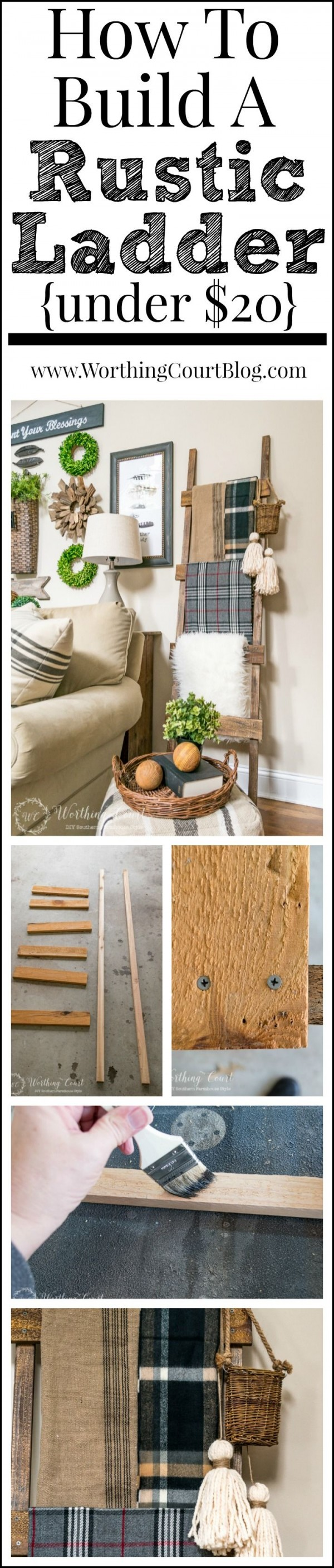 Check out the tutorial on how to make a #DIY #farmhouse rustic ladder. Looks easy enough! #HomeDecorIdeas
