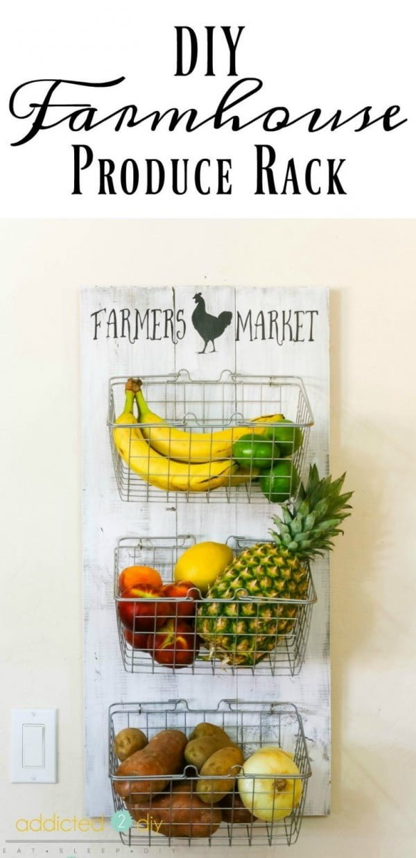 Check out the tutorial on how to make a #DIY #farmhouse produce rack. Looks easy enough! #HomeDecorIdeas