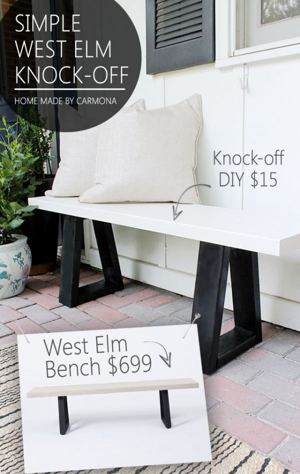 Check out the tutorial on how to make a #DIY West Elm knockoff bench. Looks easy enough! #HomeDecorIdeas