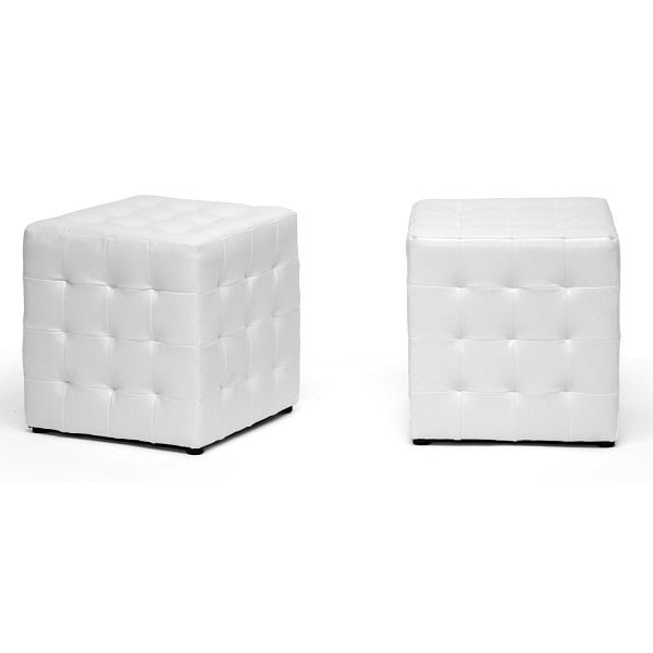 Cube leather ottoman