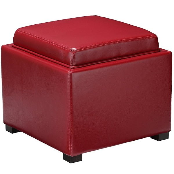 Small leather storage ottoman