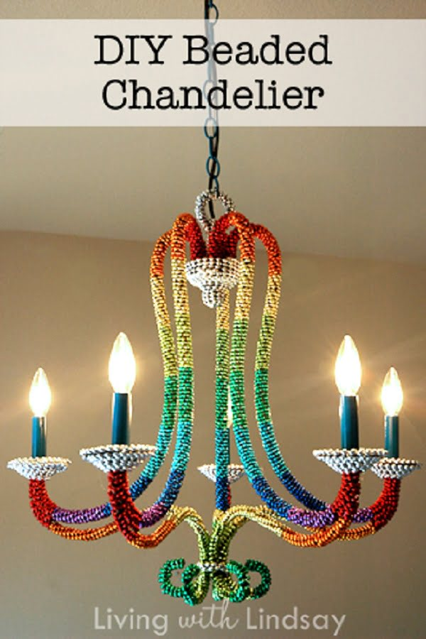 Striking DIY Beaded Chandelier