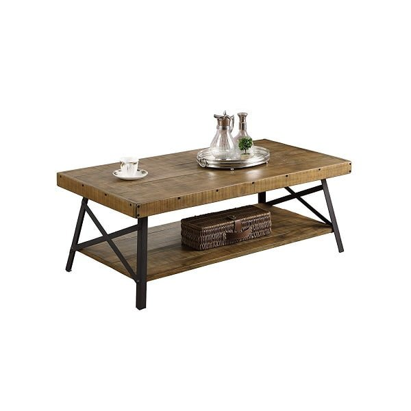 Emerald Home Solid Wood and Steel Coffee Table
