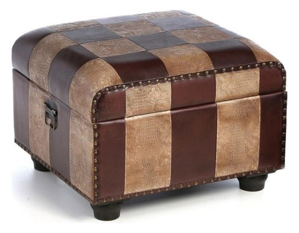 Leather trunk ottoman