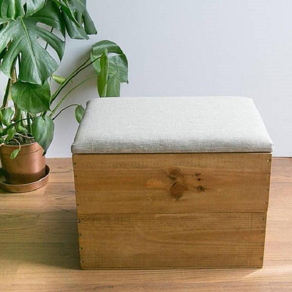 Wood crate linen ottoman