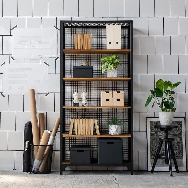 You have to see this #bookshelf decor idea with matching storage basket and office-like design. Love it! #BookshelfDecor #HomeDecorIdeas