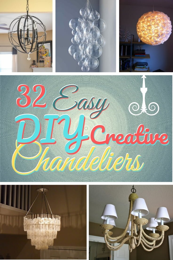 How about a new DIY chandelier? It's and easy and creative way to add tons of charm to your home decor! Here's a great list of 32 easy ideas with tutorials #homedecor #DIY