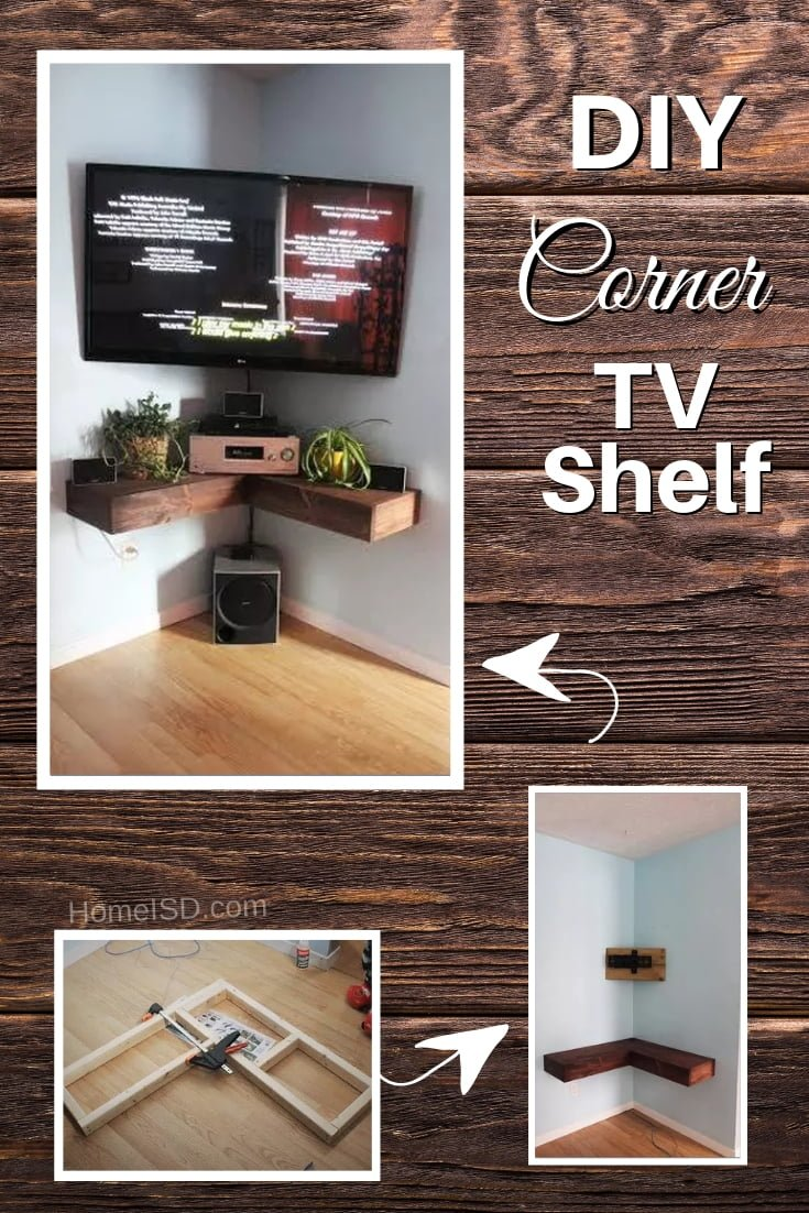DIY Corner TV Shelf - a great project idea. Check out other DIY TV stand ideas with tutorials as well!
