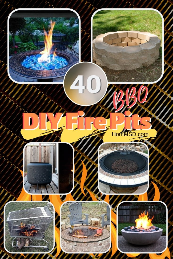 Get ready for the best BBQ season! Here are 40 DIY fire pits that you can easily build in the backyard. Great list! #DIY #backyard #garden