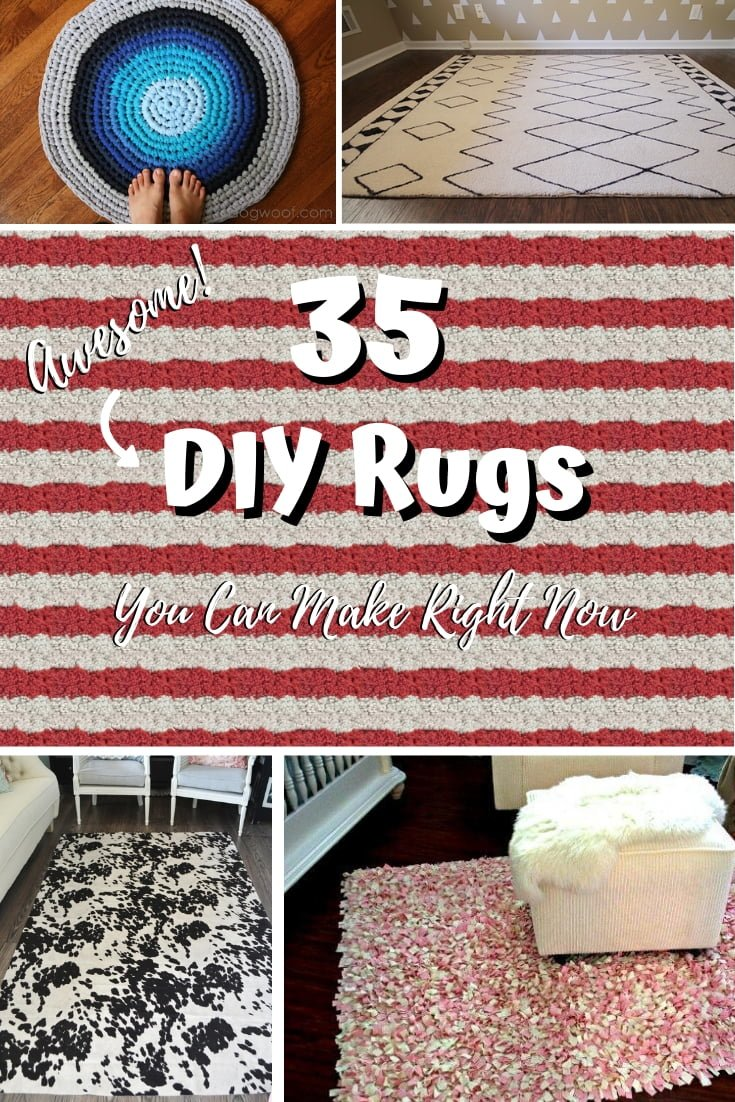 Need a new rug for your home? How about making one yourself? Here are 35 easy and awesome DIY rug ideas to choose from. Make sure you save this! #DIY #crafts #homedecor