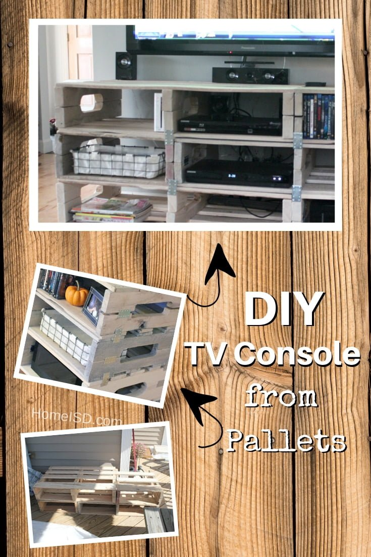 DIY TV media console from pallets - a quick and easy project. Check out other TV stand and console projects too!