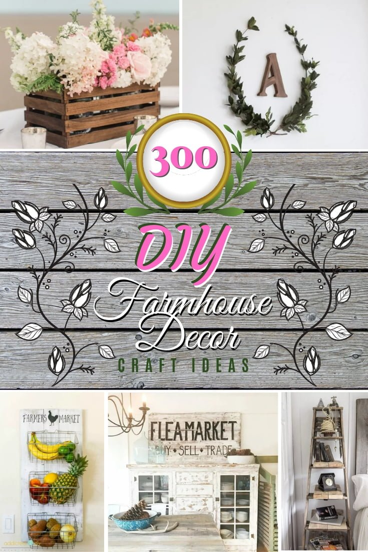 This is the ultimate guide to DIY farmhouse decor. A list of all 300 ideas and tutorials that will have you decorate like a pro. Make sure you save this list! #DIY #homedecor #farmhouse #rustic