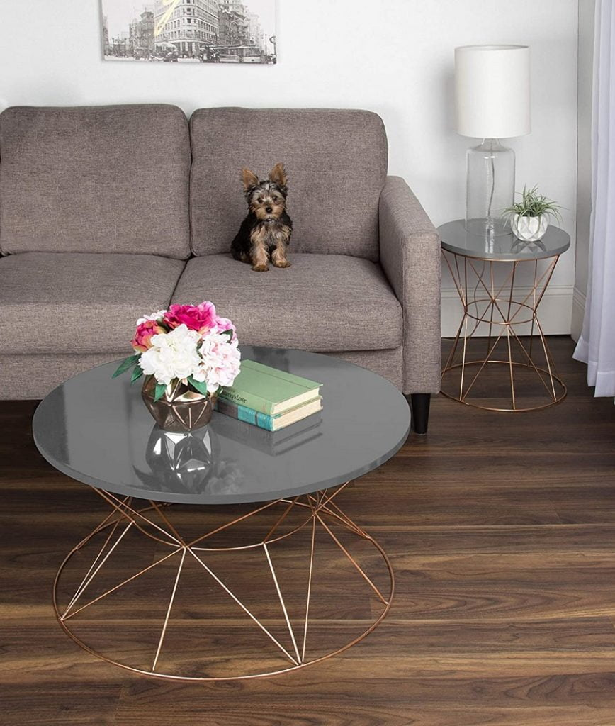 metal base round coffee table