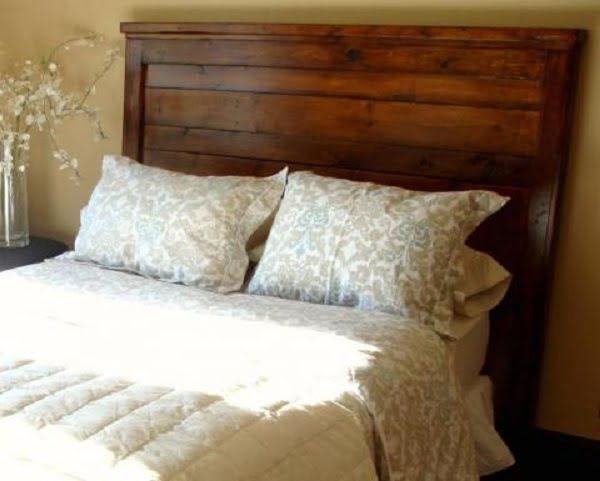 King Size Reclaimed Wood Look Headboard #DIY #homedecor