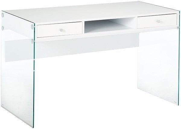 Best Glass Desk - Coaster Contemporary Glossy White Writing Desk