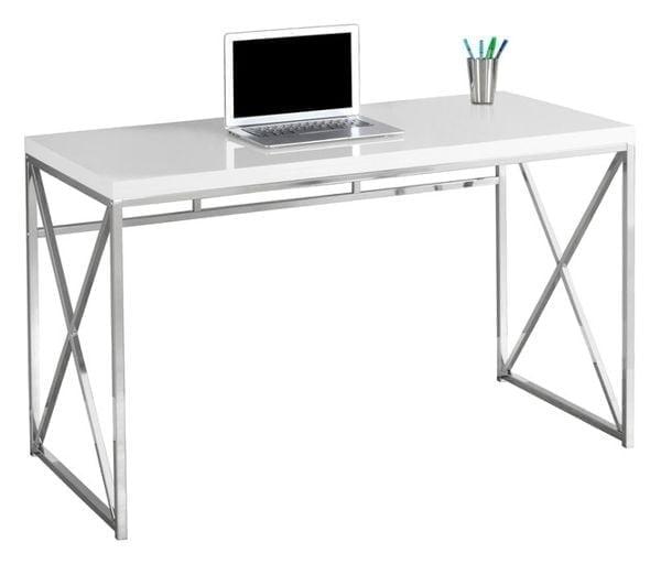 Best White Desk - Exacto Chrome Base Computer Desk