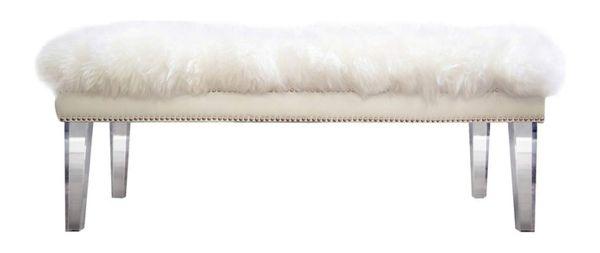 Golden Caroline Sheepskin Bench