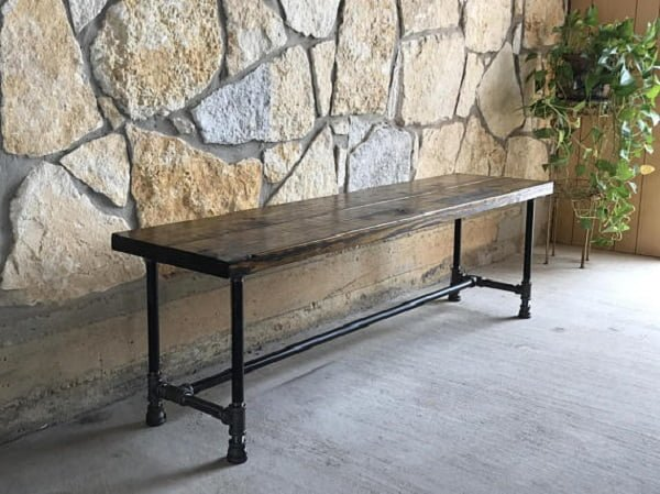 Rustic Wood and Pipe Bench by DecorDudeDesigns