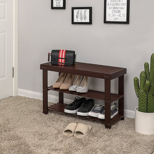 SONGMICS Three-Tier Bamboo Shoe Rack Bench