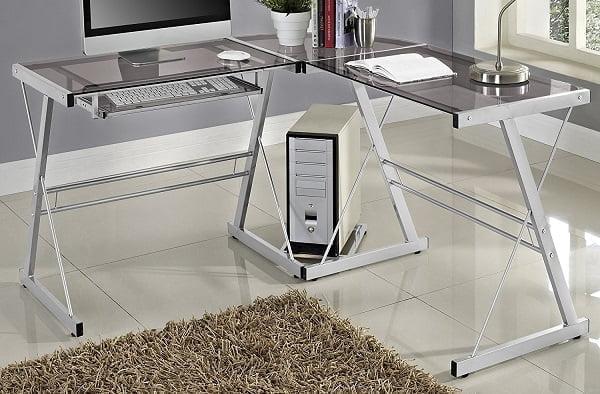 Best Home Office Computer Desk - Soreno Silver Corner Desk