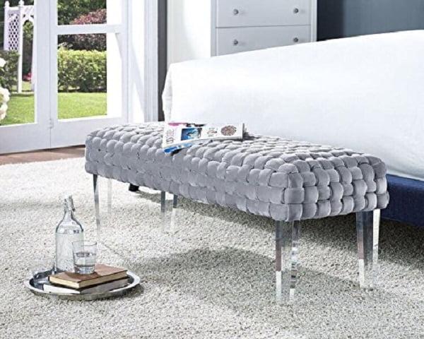 Woven Velvet Upholstered Modern Bench