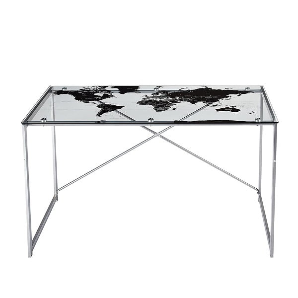 Best desks in 2018 the ultimate buyers guide the target marketing systems world map desk features a clear top and silver legs the desk is all surface space with no drawers or cabinets for storage gumiabroncs Image collections