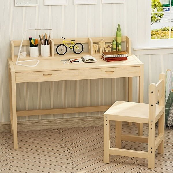 Best Kids Desk - Tribesigns Solid Wood Kids Study Desk and Chair Set