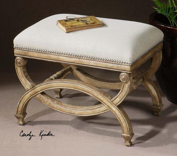 Uttermost Karline Natural Linen Hand Carved Vanity Bench