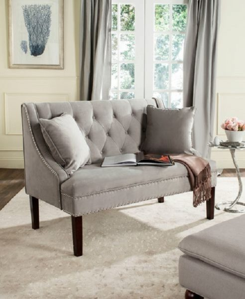 Zoey Linen Settee With Silver Nailheads