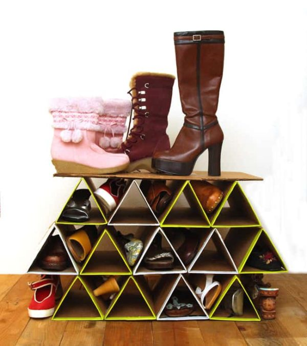 60+ Easy DIY Shoe Rack Ideas You Can Build on a Budget - How to make a  Cardboard Shoe Rack