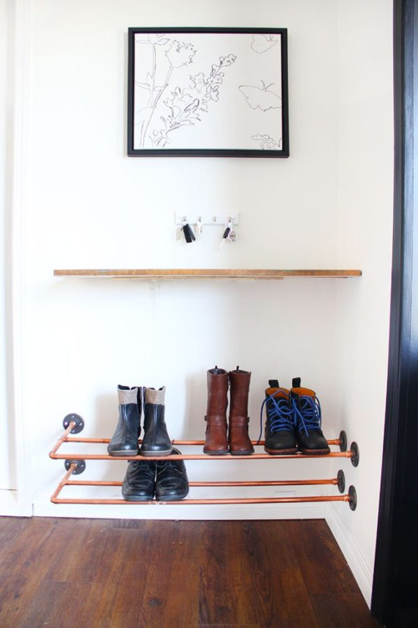 60+ Easy DIY Shoe Rack Ideas You Can Build on a Budget - How to make a  Copper Pipe Shoe Rack