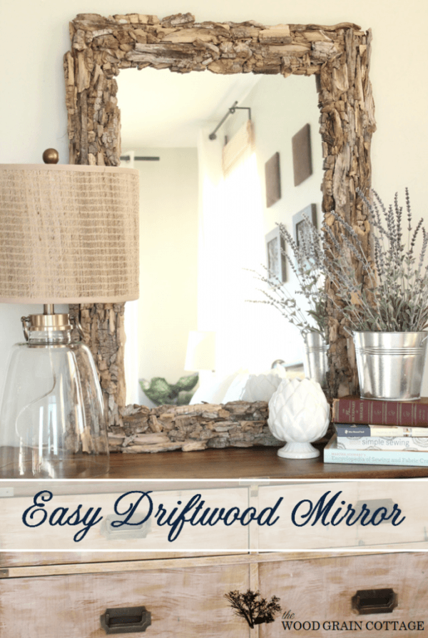 50 Fab DIY Mirror Frames You Can Easily Make Yourself - How to make a DIY driftwood mirror #DIY #homedecor