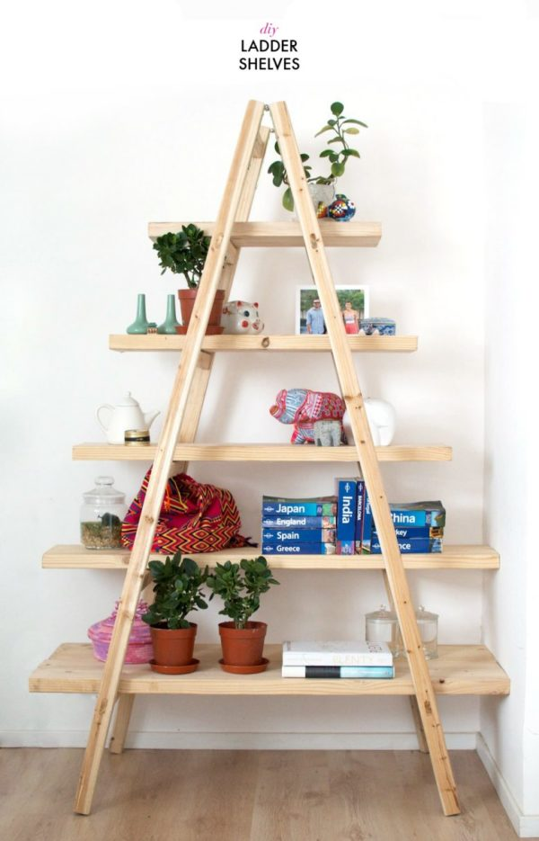 22 Easy DIY Bookshelf Ideas You Can Build at Home - How to make a  Ladder Bookshelf