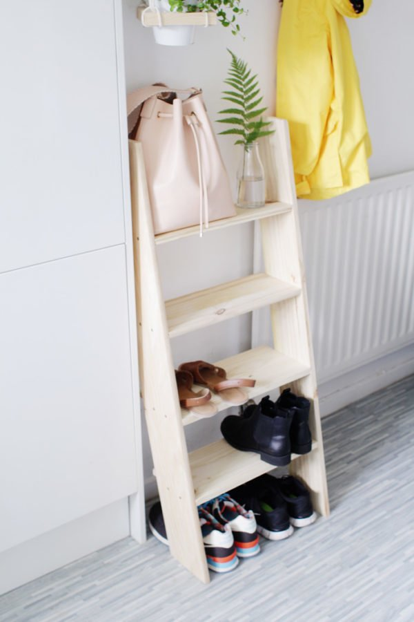 60+ Easy DIY Shoe Rack Ideas You Can Build on a Budget - How to make a  Ladder Shoe Rack