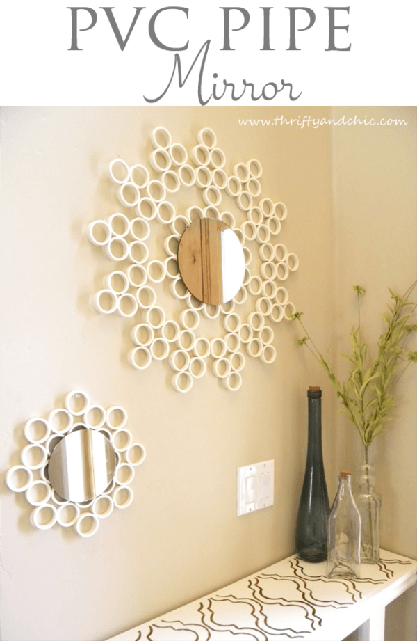 50 Fab DIY Mirror Frames You Can Easily Make Yourself - How to make a DIY PVC Pipe mirror #DIY #homedecor