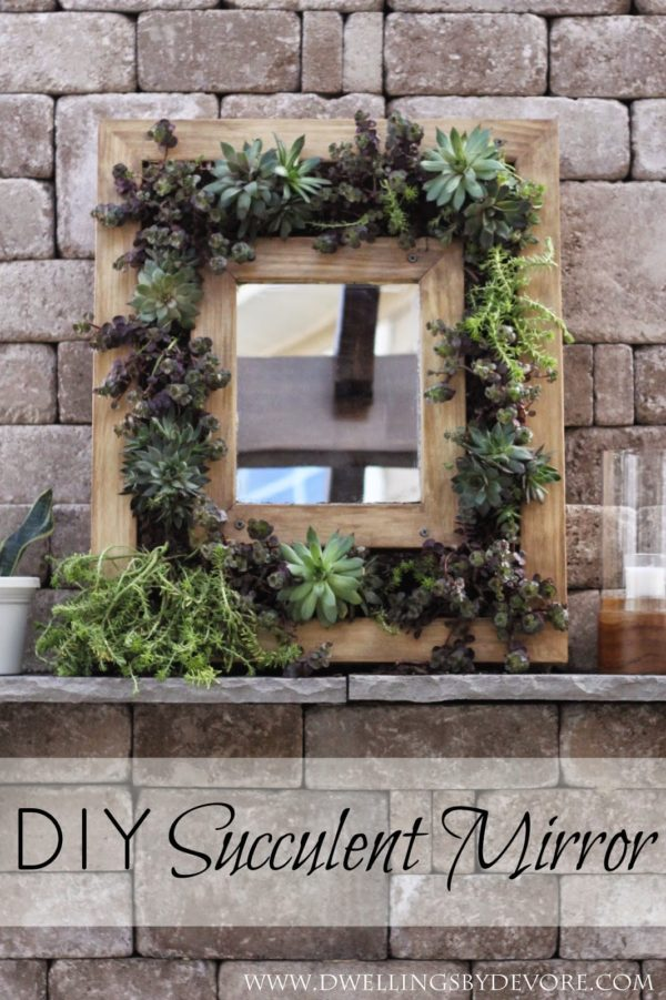 50 Fab DIY Mirror Frames You Can Easily Make Yourself - How to make a DIY succulent mirror #DIY #homedecor