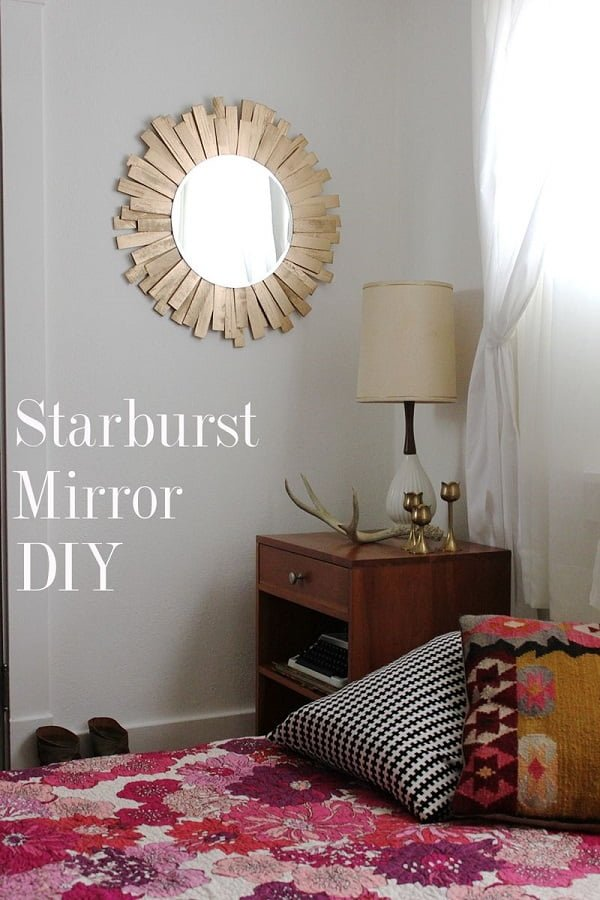 50 Fab DIY Mirror Frames You Can Easily Make Yourself - How to make a DIY sunburst mirror #DIY #homedecor