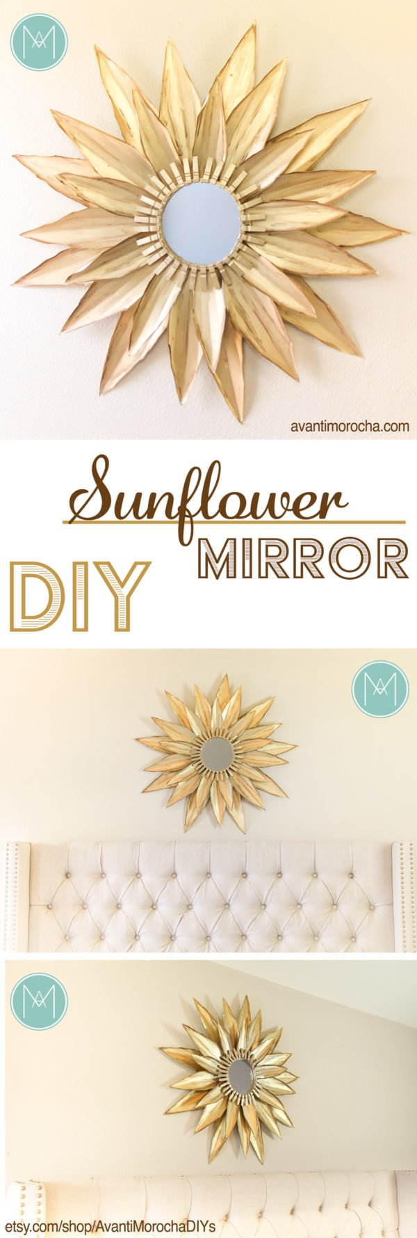 50 Fab DIY Mirror Frames You Can Easily Make Yourself - How to make a DIY sunflower mirror #DIY #homedecor