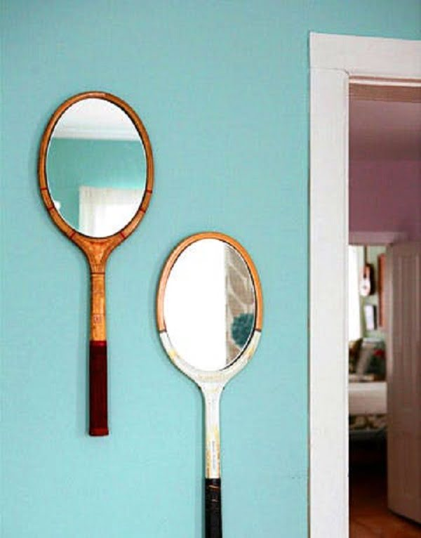 50 Fab DIY Mirror Frames You Can Easily Make Yourself - How to make a DIY tennis racket mirror #DIY #homedecor