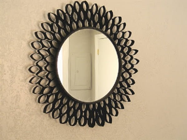 50 Fab DIY Mirror Frames You Can Easily Make Yourself - How to make a DIY TP mirror #DIY #homedecor