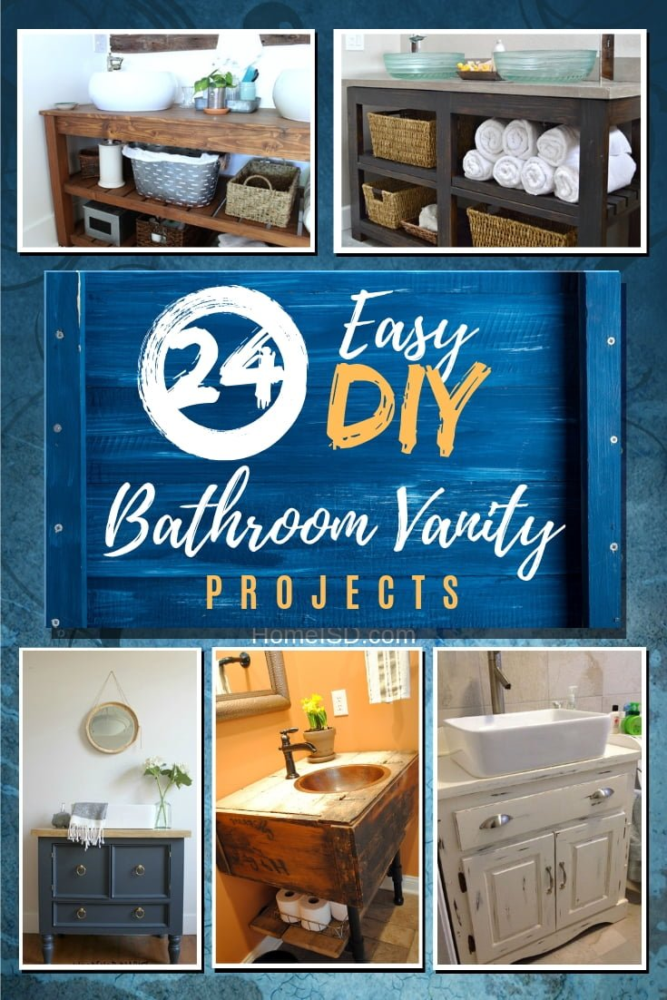 Want to build a custom bathroom vanity at home? Here is a list of 24 easy DIY bathroom vanity projects for you to follow. Worth saving! #homedecor #DIY #bathroomdecor