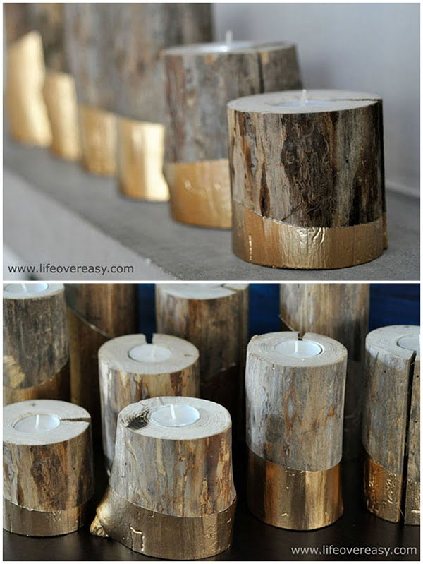 How to make  rustic gold-dipped candleholders