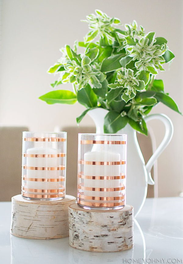 How to make  striped copper candleholders