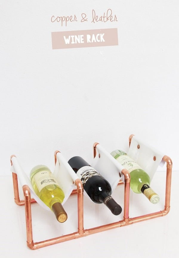 How to make a #DIY copper and leather Wine Rack #homedecor