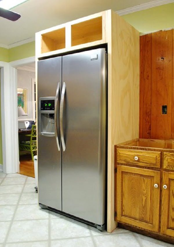 How to build  kitchen cabinets for the fridge enclosure