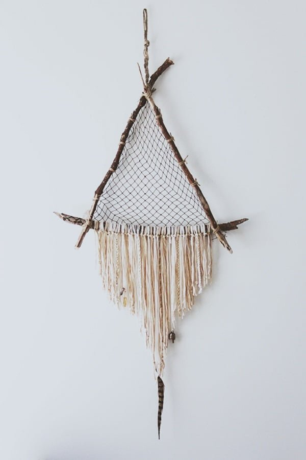 How to make a  driftwood triangle dreamcatcher